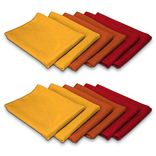 TableLinensforLess Thanksgiving/Fall Cloth Napkin Sets (12 Pack, Gold/Burnt Orange/Red)