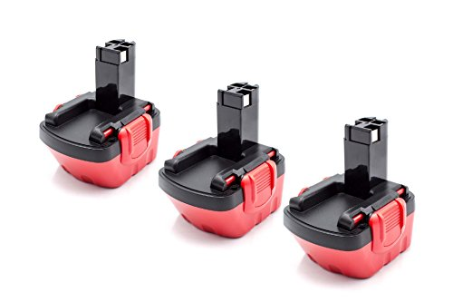 vhbw 3x NiMH batterie 1500mAh (12V) pour outil électrique outil Powertools Tools Bosch GSR 12V, JAN-55, PAG 12, PSB 12 VE-2, PSR 12, PSR 12VE