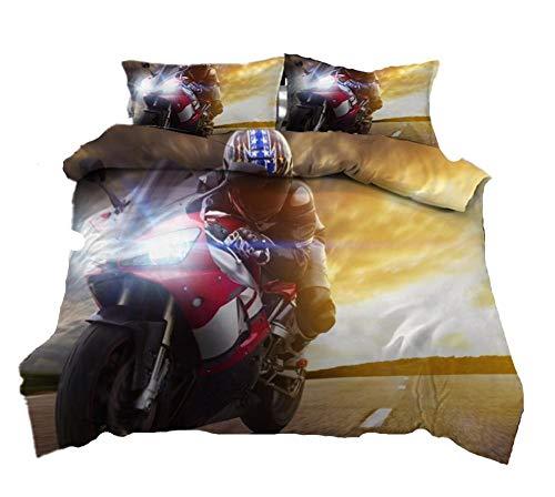 AmenSixye 3d Lifelike Motorcycle Printing Duvet Bed Duvet Cover King Comforter Set Bed Linen Queen For Boys Adults,230x260cm(3pcs)