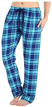 PajamaMania Women s Cotton Flannel Pajama PJ Pants with Pockets Navy & Teal Plaid MED