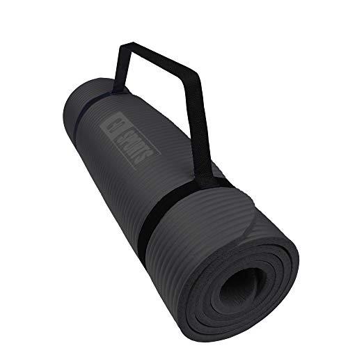 Calma Dragon 85611 Tapis de Yoga NBR, épaisseur, tapis antidérapant, idéal pour Pilates, exercices, fitness, gymnastique, stretching (noir, 185x62x1,5cm)