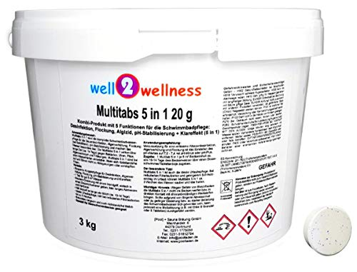 well2wellness Chlor Mini Multitabs 5 in 1 / kleine Multitabs 20g mit 5 Funktionen - 3,0 kg