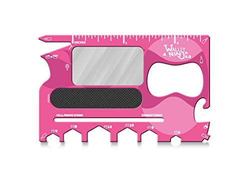 Ninja 2.0 Geldbörse (Advanced 20-in-1 Multitool jetzt mit Spiegel und Nagelfeile) Pink