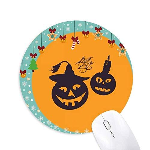 Halloween Pumpkins Kerzen Spinnweben Maus Pad Jingling Bell Round Rubber Mat