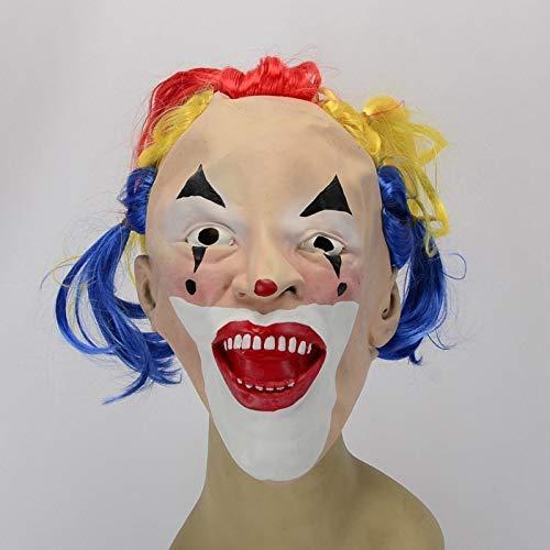 WSJMJ Griezelig Halloweenmasker met grappig clown-masker en masqueradekostuum, feestdecoratie, latex (kleur: zoals aangegeven)