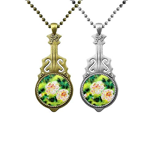 Faszination Blume Malerei Musik Gitarre Anhänger Schmuck Halskette Anhänger Paar