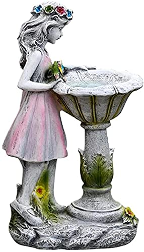 TEEFLY Jardin DE Decoración Figuras Luz Solar Luz de jardín Adorno de Resina Girl Fairy Estatua Jardín Ornamento Resina Artesanía Paisajismo Decoración del Patio