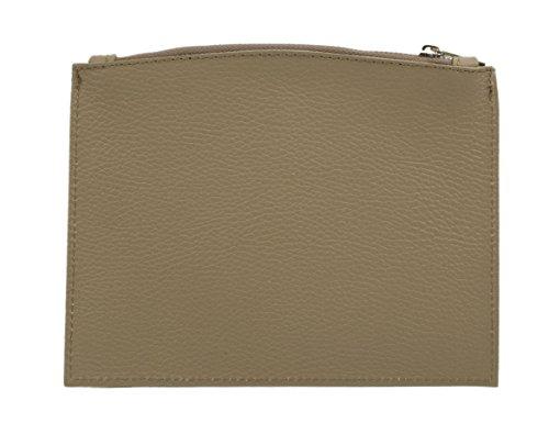 SLINGBAG Larissa schlanke Schminktasche/Etui/Geldtasche aus echtem Leder/Farbauswahl (Beige)