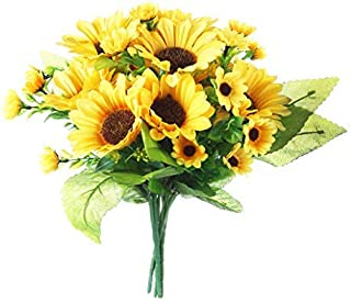 Gumolutin 4 Pcs Artificial Sunflowers Bouquet Fake Sunflower Bunches for Home Table Centerpieces Arrangement Wedding DIY Decoration