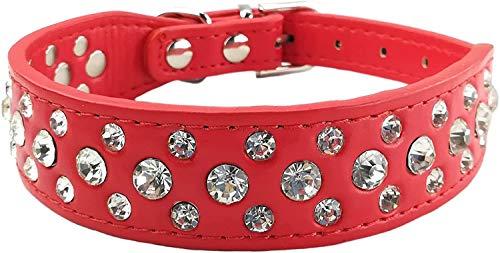SNFHL Bling Collar para Mascotas Collar para Cachorros Lindo Collar para Perros con Diamante Girl-Pink,S-Red