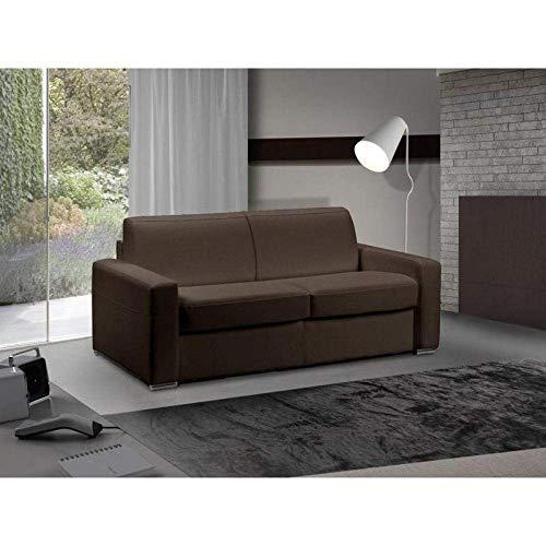 Canapé lit 3-4 Places Master Convertible Ouverture RAPIDO 160 cm Cuir Eco Marron Matelas 18 CM Inclus