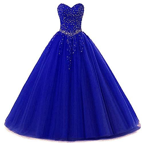 Zorayi Damen Liebsten Lang Tüll Formellen Abendkleid Ballkleid Festkleider Blau Größe 32