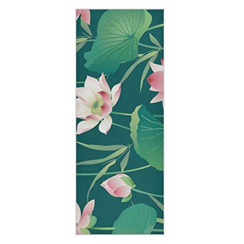 Funda para Esterilla de Yoga Beautiful Blooming Lotus Yoga Towel Pack Super Suave Antideslizante Esterilla de Yoga Antideslizante Grueso Adecuado para Playa Fitness Park Yoga y Pilates 73x2