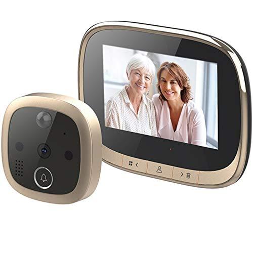 Timbre de la puerta de la visión nocturna de 4.3 pulgadas de pantalla LCD de la cámara digital espectador de la puerta Mirilla de fotos Grabación de vídeo de detección de movimiento Fácil Instalación