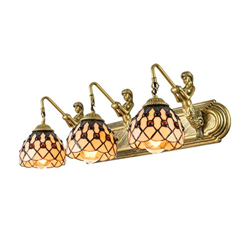 KWOKING Lighting Tiffany Style Mermaid Wall Sconce Lighting Creative Wall Mount Hanging Lamp with Beige Shade Vintage Decoration for Bathroom, Bedroom, Balcony
