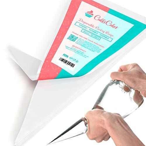 CukkiCakes 100uds Mangas Pasteleras Desechables Profesionales (Tamaños: 30/47/53cm) - 100% Reciclables – Capa Extra Gruesa (0.08mm)