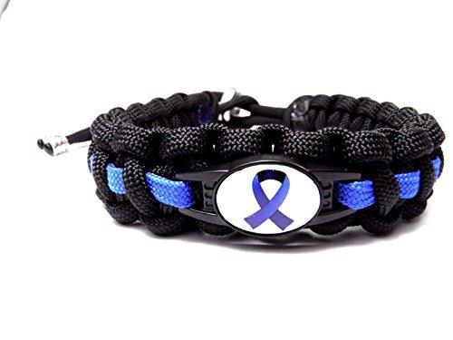 HanseCharms Paracord Armband-Thin Blue Line-Polizei-Männer, Frauen, Kind Armband-Verstellbar (Schleife, M = 16-20 cm)