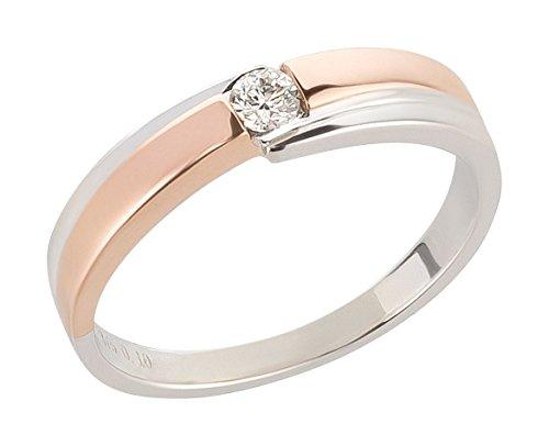 Ardeo Aurum Damenring aus 375 Gold bicolor Weißgold Rosegold mit 0,1 ct Diamant Brillant Verlobungsring Solitär