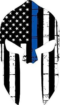 Thin Blue Line Tattered Flag- Spartan Head l Decal Vinyl Sticker 6