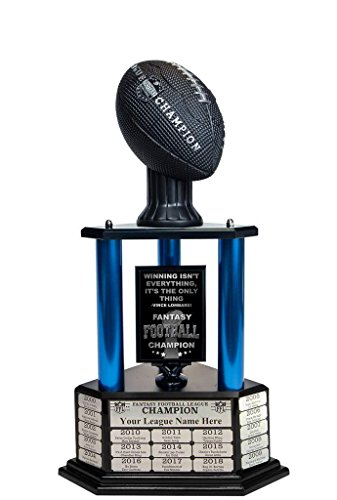 Customizable 26' Fantasy Football Trophy Free Engraving up to 19 Years Past Winners (Vivid Black) (26' Tall, Blue Columns)