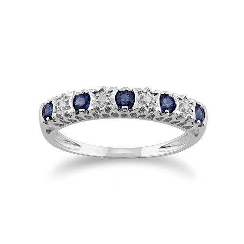White 9ct Gold 0.28ct Natural Blue Sapphire & 2pt Diamond Half Eternity Band Ring
