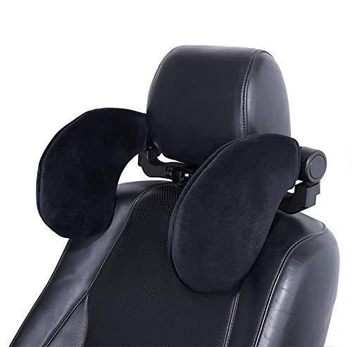 Spurtar Almohada para reposacabezas de asiento de coche, soporte ajustable para el cuello en ambos lados, almohada de terciopelo suave para la cabeza para niños, adultos, ancianos (Negro)