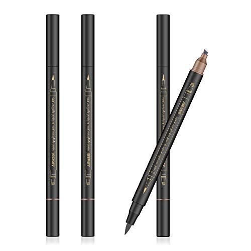 Eyebrow Tattoo Pen with Eyeliner | 2PCS Waterproof Microblading Eyebrow Pen to Make natural looking Eyebrow,Sweatproof Eyerbrow Pen,Non-caking,Easy to Color and No Fade (Dark Grey)