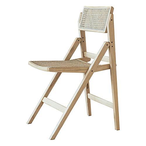 TY-ZWJ Rattan Armlehne Esszimmerstuhl, Home Wohnzimmer Arbeit Freizeit Back Chair Japanische Stil Massivholz Recliner Klappstuhl,Wood Color