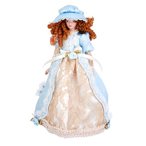 SODIAL Bambole in miniatura di porcellana Bambole carino in stile vittoriano Bambola vittoriana con base in tessuto