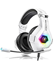 Cascos Gaming PS4, Auriculares con Microfono Ajustable de 360 ° para PS4 PS5 Xbox One PC Nintendo Laptop, Cascos PS4 con 3D Premium Stereo, Orejeras Ligero Cómodo y Diadema Ajustable, Luz RGB