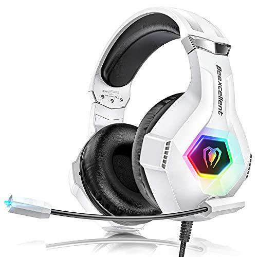 Cascos Gaming PS4, Auriculares con Microfono Ajustable de 360 ° para PS4 PS5...