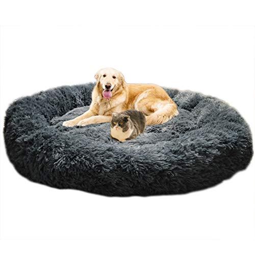 Lit moelleux rond Telismei pour chien Extra large Lavable avec coussin