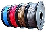 Maths PLA+ 3D Printer Filament 1.75mm (±0.02 mm), 1Kg/2.2lb, 0.25Kg/Spool Independent Vacuum Package. 4 Colors Pack for 3D Printer & 3D Pen-Gold(Dark), Silver, Red, Blue.