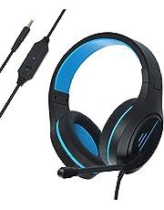 Anivia ゲーミングヘッドセット 50MMドライバー ヘッドホン 軽量 ノイズ低減 ヘッドフォン マイク付き 有線3.5MM 在宅勤務 オフィス PC/PS4/switch ヘッドセット【メーカー12月保証】MH601(ブルー)