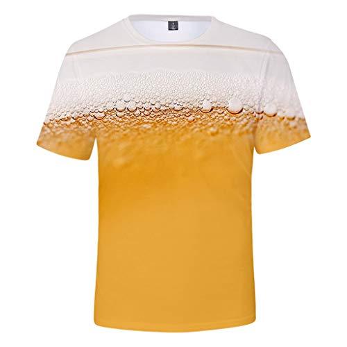 ToDIDAF Herren T-Shirt Sommer-Oktoberfest-Thema 3D-Druck Bier Muster Rundhals Kurzarm Bluse Top Gelb L