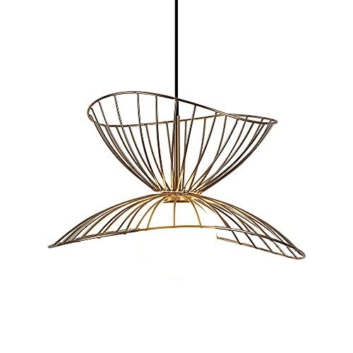 SENQIU Lámpara de Araña de Sombrero de Paja de Hierro Forjado Nórdico Lámpara de Techo Colgante Dormitorio Moderna Altura Ajustable sin Bombilla (Color: Dorado)