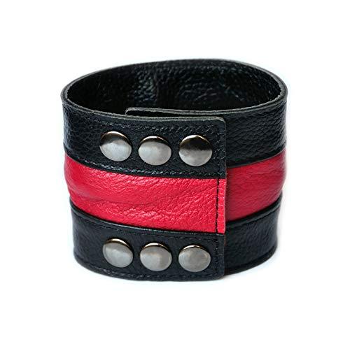 Mister LONG Lederarmband aus echtem Leder mit Geheimfach Geldfach Geldgürtel Geldarmband für Reise, Joggen, Ausgehen, Strand oder Party (rot)