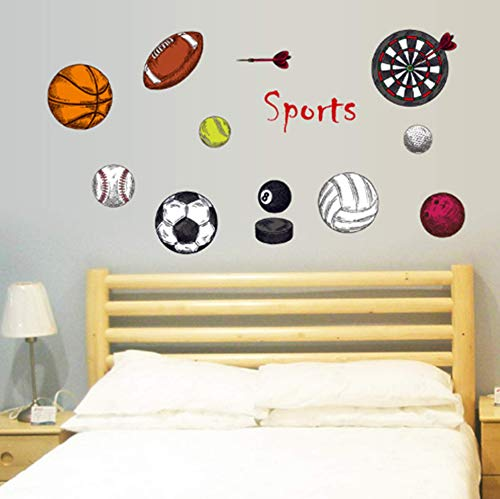 Sports Series Wall Stickers Color Basketball Rugby Volleyball Darts Wall Decals Football Stickers Kids Adult Tennis Wall Removable Stickers for Kids Adult Bedroom Living Room