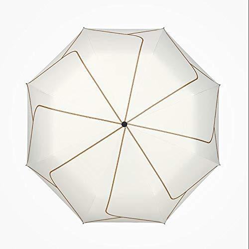 WANBAOYS Regenschirm - öffnet und schließt automatisch belüftete und Winddichte Doppelmarkisen - Herren und Damen - Cremefarben