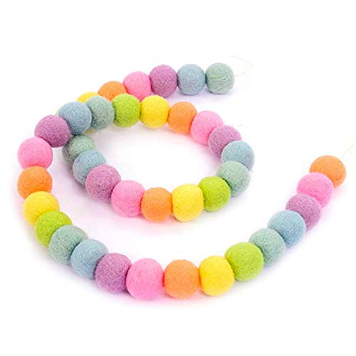 JIELUO Pom Poms Garlands - Felt Ball String - 12 Feet, 40 Balls, 7 Pastel Colors, Hanging Ornaments Handmade Pom Pom Decoration For Kids Bedroom Party Birthday