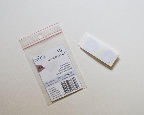 NFC STICKER TAG ¡Paquete de 10 chipset NTAG213 de NXP! 25 mm, redondo, blanco, recubierto de PVC. Compatible con Samsung Galaxy S8, iPhone 8 y otros teléfonos Android y Windows habilitados para NFC
