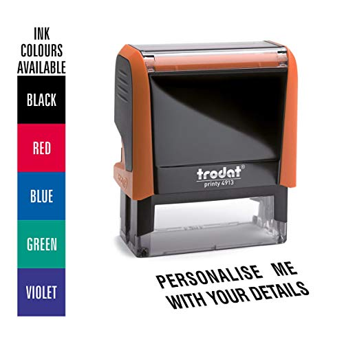 Trodat Orange Printy 4913 Personalised Custom Office, Business and Teacher Stamp - 6 Lines of Text