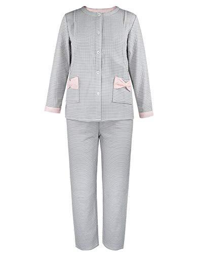 iloveSIA Damen Stillpyjama Langarm Baumwolle Schlafanzug mit Knopfleiste Grau M Größe 36/38
