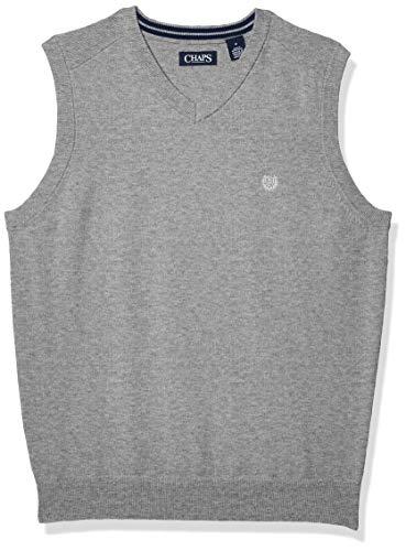 Chaps Men's Cotton V-Neck Sweater Vest, Light Grey Heather, S