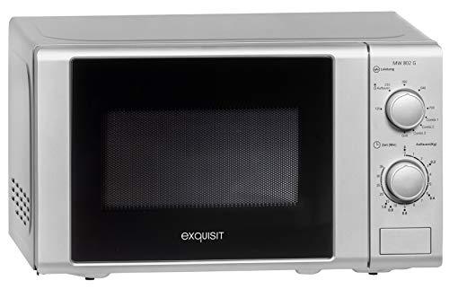 Exquisit Mikrowelle MW 802 G Silber / 700 Watt/Grill 1000 Watt / 20L / Silber, 0910092
