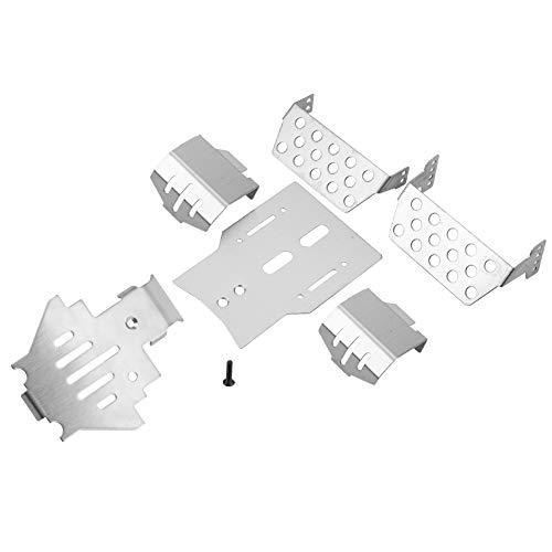 6 Stück RC Chassis Armor Set, Edelstahl Chassis Armors Protection Skid Plate für Traxxas TRX-4 RC Car RC Teil Zubehör Silber