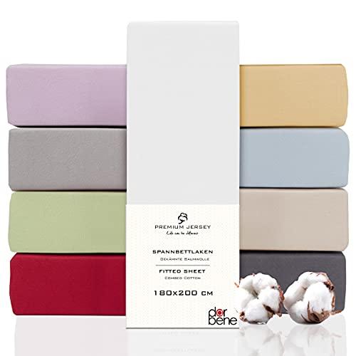 DarBene Spannbettlaken 180x200 Premium , Jersey 100% gekämmte Premium Baumwolle, Blickdicht, superweiches Bettlaken bis 25 cm Matratzenhöhe, Oeko-TEX, Weiß