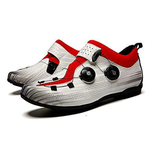 RTY Los Zapatos de Ciclismo no se hicieron Clic, Suela de Goma, 37-46,Blanco,44