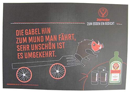 Jägermeister - Platzdeckchen aus Papier 38,5 x 26,8 cm - Die Gabel hin zum Mund Man fährt, sehr unschön ist es umgekehrt