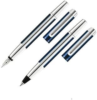 Pelikan Pura Pen Set, Fountain Pen and Rollerball Pen, Blue/Silver, 1 Set Each (955047)